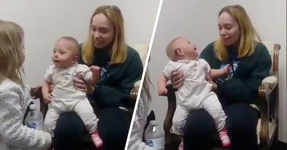 Eleven-Month-Old Baby After Receiving Her First Ear Aid And Her Reactions Are Priceless
